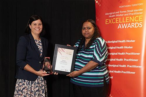 Makisha Tilmouth with Health Minister, Natasha Fyles