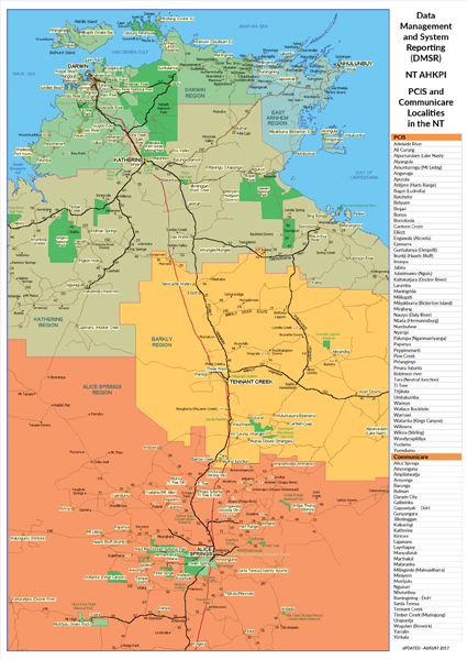 NT Remote Health Centres Map