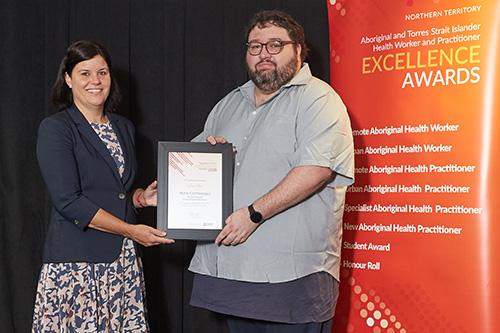 Luke Ellis with Health Minister, Natasha Fyles